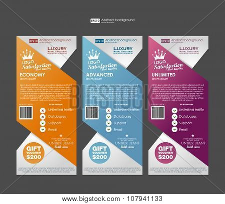 Three tariffs banners for web app. Price , banner, order, box, button, list and bullet with plan for website. Template prices banners.