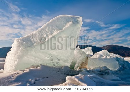 Crack In An Ice Of Baikal With Formation Of Ice Hummocks