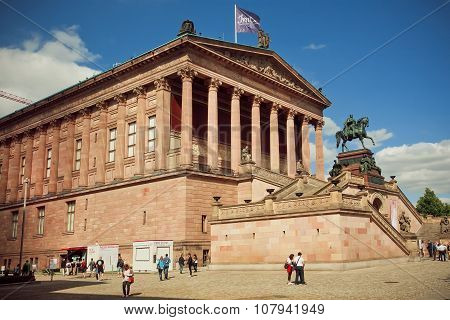 People Walking Around Great Structure Of Alte Nationalgalerie, Berlin.