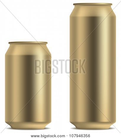 Blank yellow beer can in 2 variants 330 and 500 ml isolated on white background.
