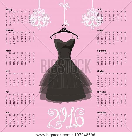 Calendar 2016 year.Black dress Silhouette