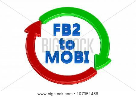 converting fb2 to mobi concept isolated on white background poster