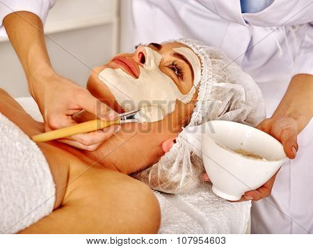 Eldery woman middle-aged in spa salon receiving facial mask by  beautician. poster