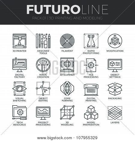 3D Printing Futuro Line Icons Set
