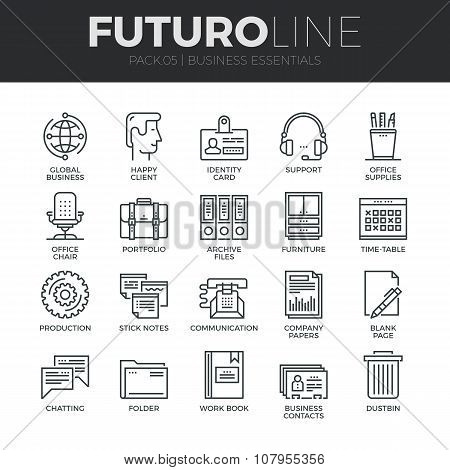 Business Essentials Futuro Line Icons Set