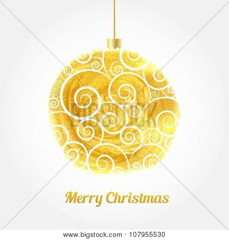 Golden watercolor painted vector Christmas ball. Christmas card with gold ball and text