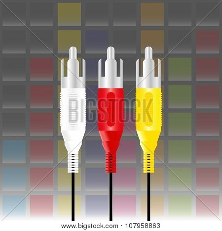 color rca connectors with equaliser music background