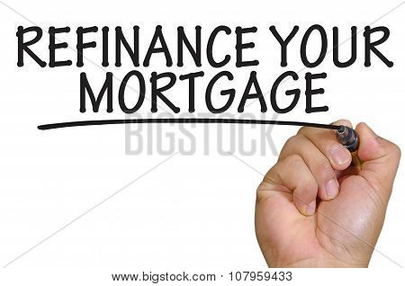 The hand writing refinance your mortgage over plain white background poster
