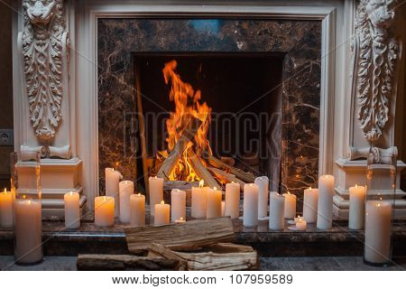 In A Fireplace Fire Burns