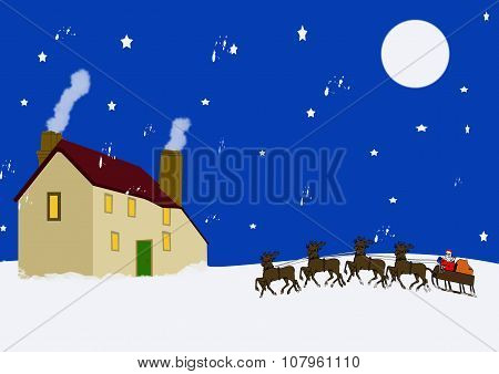 Santa At Traditional Old Cottage