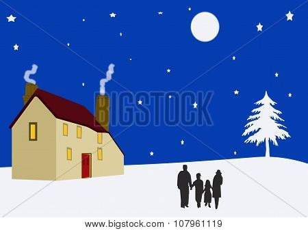 Family Outside Cottage On A Winter's Night