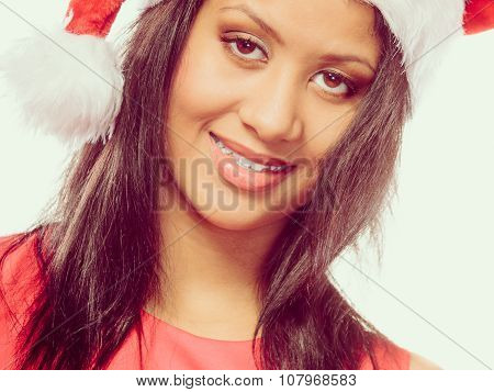 Woman Mixed Race Santa Helper Hat Portrait