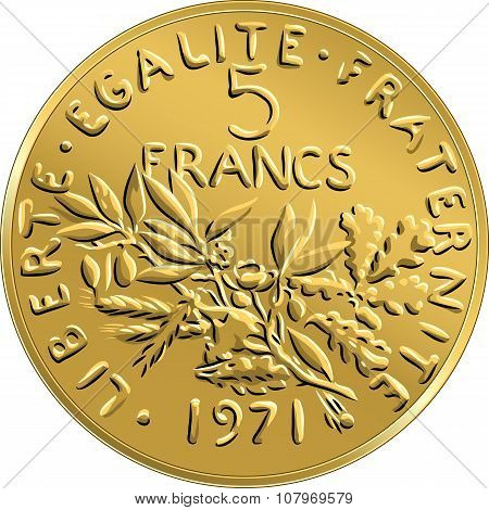 vector French money coin ffive francs obverse