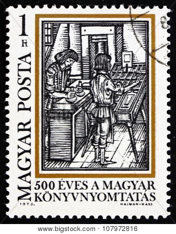 Postage Stamp Hungary 1973 Typesetting, By Comenius