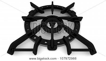 The burner of the gas stove. Close-up. Isolated on a white surface poster