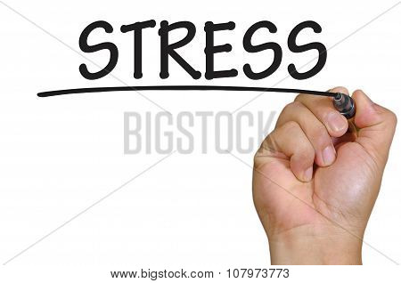 Hand Writing Stress Over Plain White Background