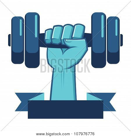 Strong Hand Lifting A Weight Fitness Symbol