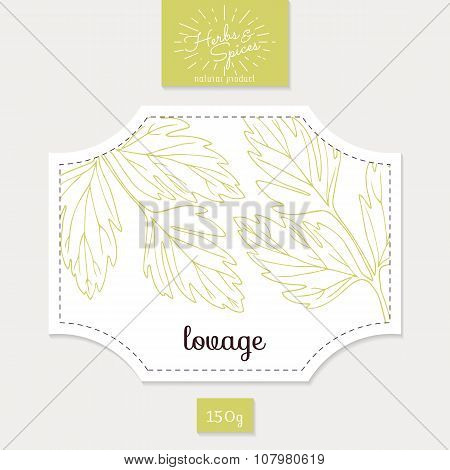 Product sticker with hand drawn lovage leaves. Spicy herbs packaging design