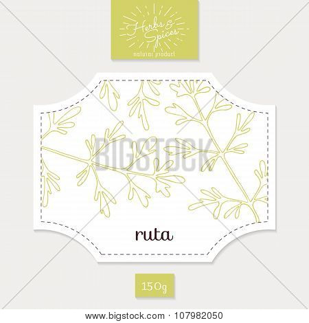Product sticker with hand drawn ruta or rue. Spicy herbs packaging design