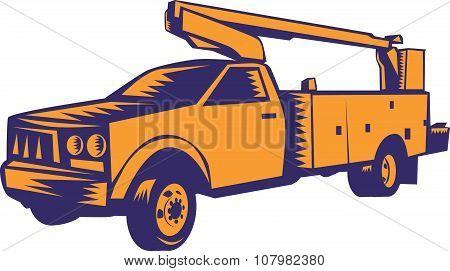 Cherry Picker Mobile Lift Truck Woodcut