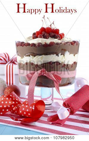 Festive Black Forest Trifle Dessert