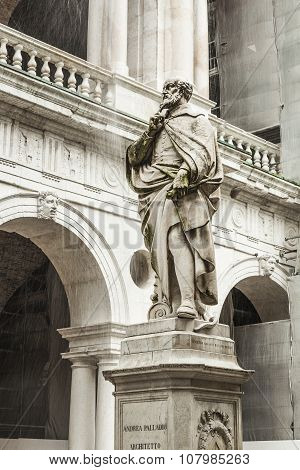The statue of the famous Italian architect of the Renaissance Andrea Palladio placed by the Basilica palladiana in Vicenza poster
