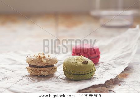 Close Up Of Three Yummy Macaroons Blur Background