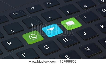 Black keyboard closeup with apps icons shortcuts