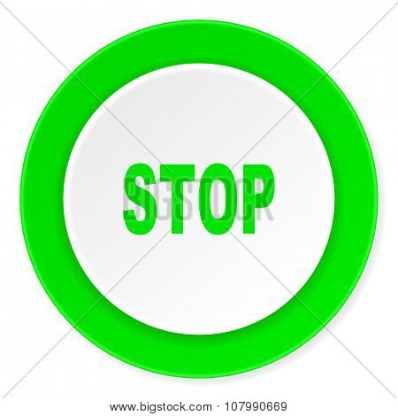 stop green fresh circle 3d modern flat design icon on white background