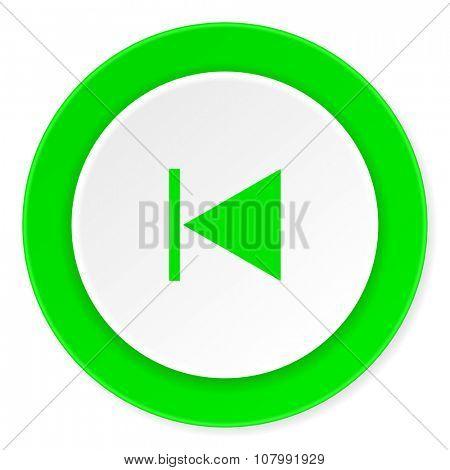 prev green fresh circle 3d modern flat design icon on white background