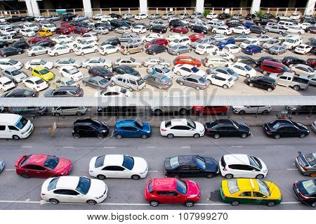 Cars park at BTS station in Chatuchak