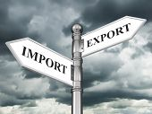 Directional sign Import Export in the form of arrows on a background of clouds poster