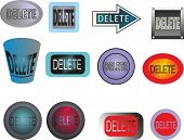 12 different versions of buttons delete in various styles poster