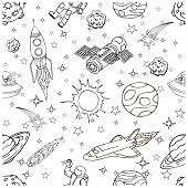 Outer Space doodles, symbols and design elements, spaceships, planets, stars, rocket, astronauts, satellite, comets. Cartoon space icons for kids book cover. Hand drawn vector illustration. poster