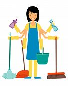 The concept of multitasking housewife. Woman and cleaning tools. Vector illustration poster