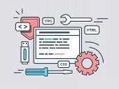 Web programming script. Code program, script html, coding algorithm. Flat vector illustration poster