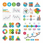 Business data pie charts graphs. Quiz icons. Brainstorm or human think. Checklist symbol. Survey poll or questionnaire feedback form. Questions and answers game sign. Market report presentation. Vector poster