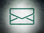 Finance concept: Painted green Email icon on Digital Paper background poster