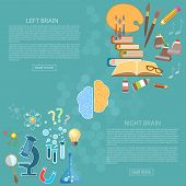 Left and right side of the brain logic and creativity back to school sciences and arts vector banners poster
