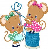 Illustration of a Pair of Cute Mice Threading a Needle poster