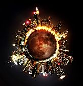 Cityscape of New York City morphed into a planet poster