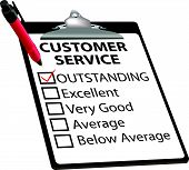 CUSTOMER SERVICE evaluation for quality with red check mark in OUTSTANDING box with clipboard and red ink pen. poster