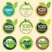 GMO Free Non GMO and organic guarantee tag label emblem sticker for plant fruits and vegetable poster