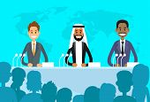 Conference International Leaders Arabic Indian Jew President, People Group Silhouettes at Conference Meeting Flat Vector Illustration poster
