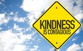 Kindness Is Contagious sign with sky background poster