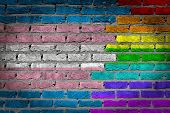 Dark brick wall texture - flag painted on wall - Trans Pride poster