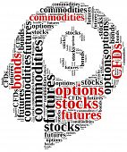 Different types of financial instruments. Investing in commodities stocks options futures or bonds. poster