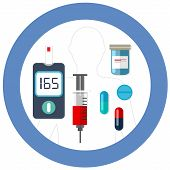 world diabetes day blue circle symbol with icon vector blood glucose test insulin drug pharmacy health care drawing poster