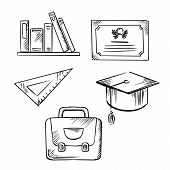 Graduation diploma and cap, school bag, triangle ruler and books sketch icons for graduation or education themes design poster