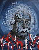 Creative contemporary Albert Einstein portrait. Using blue, white, black, grey and red colors. poster